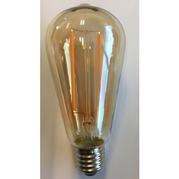 HP-Led Filament Rustiek 2W E27 2200K 160Lm Gold Dimbaar 140x64